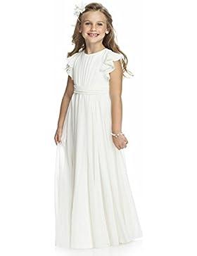 KekeHouse® Blumenmädchenkleid aus Chiffon A-Linie Plissiert Maxi Hochzeit Kleid Kinderkleid Partykleid Weiß elfenbein