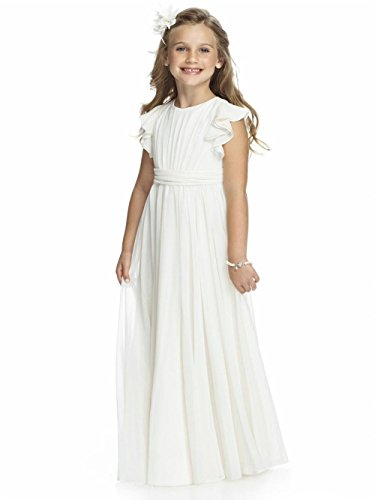 KekeHouse Blumenmädchenkleid aus Chiffon A-Linie Plissiert Maxi Hochzeit Kleid Kinderkleid Partykleid Weiß elfenbein
