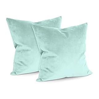 npluseins Doppelpack - Samtkissenhüllen - elegant + einfarbigem + modern - erhältlich in 15 modischen Farben und in 4 verschiedenen Größen, Aqua, ca. 50 x 50 cm