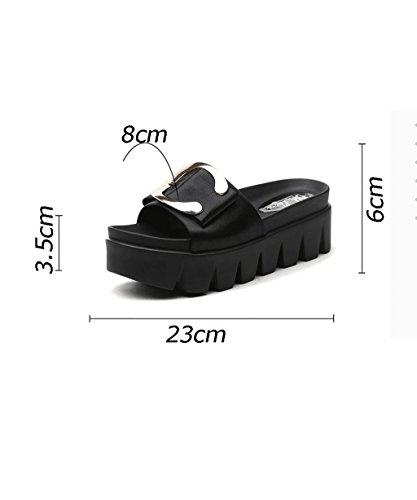 CHAOXIANG Pantofole Da Donna Antiscivolo Con tacco Ciabatte Piatte Sandali Da Surf Nuova Estate Ciabatte Spiaggia ( Colore : Nero , dimensioni : EU37.5/UK4.5/CN38 ) Nero