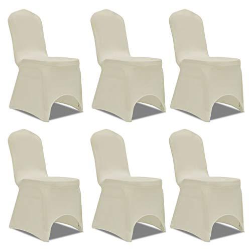Xingshuoonline Stuhlhusse Stretch Creme 6 Stück Sofa Schonbezug passend für Fast alle Arten von Stühlen mit Einer Gesamthöhe von bis zu 100 cm (Schonbezug Sofa Creme)