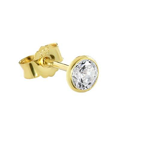 NKlaus Single Ohrstecker echt Gold 333er 4,5mm Cubic Zirkonia Damen Herren 0,52g 3753