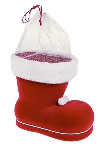 großer Nikolausstiefel zum Befüllen, Kunststoff beflockt mit Plüsch und Samt