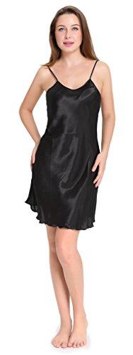 Aibrou femme Déshabillés chemise de nuit sexy en satin petite tenue nuisette Bretelles reglables Pure Douceur Robes Peignoir Noir