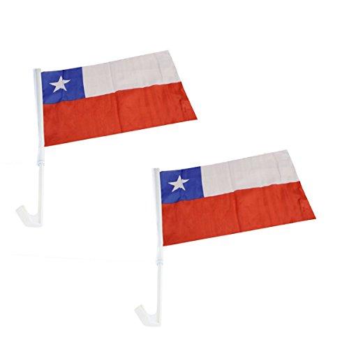 Sonia Originelli 2er SET Auto Flagge Fahne WM Länder Fußball Fan Farbe Chile