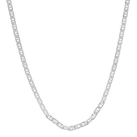 2.5mm Solid 925 Sterling Silver Beveled Flat Mariner Link Chain,