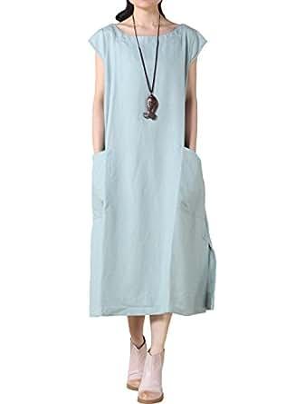 Vogstyle Damen Sommerkleid mit Taschen Plain Dress: Amazon ...