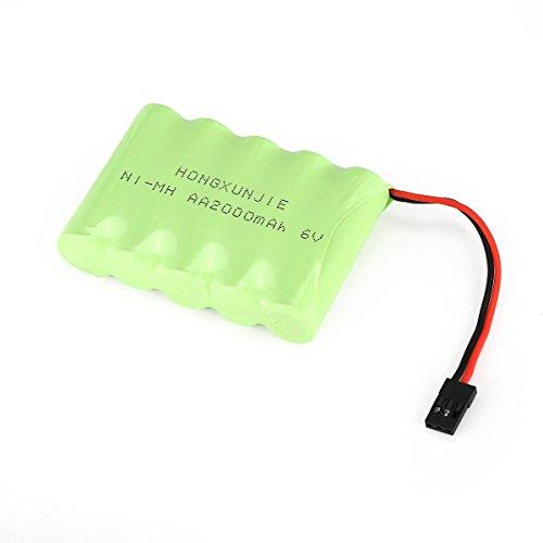 Gugutogo 5S 6V 2000mAh NiMH Side pacco batteria per auto ricevitore RX RC Futaba Hitec Jr, verde