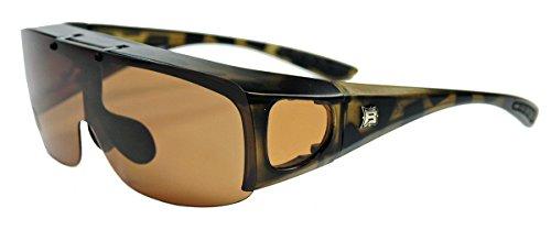 Polarisierte fitover Sonnenbrille NEU klappbare Gläser Überbrille für Brillenträger (Demi Tortoise / Braun)