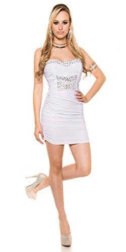 Glamouröses Party-Minikleid mit Strass und transparenten Einsätze Weiß