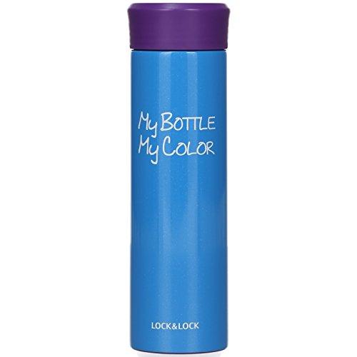 LOCK & LOCK Thermobecher to go - FUN COLOR TUMBLER - Isolierflasche Edelstahl auslaufsicher - Thermo Isolierbecher für Kaffee, Tee & Kaltes - 390ml Blau