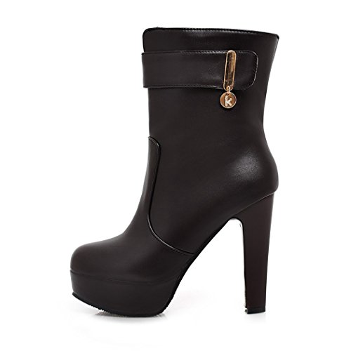 ZQ@QX In autunno e inverno a testa circolare di spessore e con stile minimalista ed elegante di grandi cantieri, Cilindretto corto Stivali Stivali femmina black
