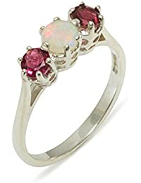 925 Sterling Silver Natural Opal & Pink Tourmaline Womens Trilogy Ring