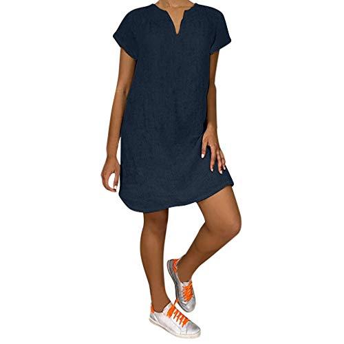 Lazzboy Damenmode Lose Freizeit V-Kragen Kurzarm Damen Leinenkleid Sommer V-Ausschnitt Kleid Boho Sommerkleid Leinen Kleider Strandkleider A-Linie(Marine,L) -