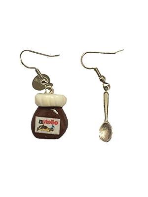 """Lady-Charms - Fait-main - Boucles d'oreilles""""Pâte à Tartiner Nutello et sa Cuillère"""" - Cadeau idéal"""