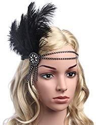 (Babeyond Damen Flapper Stirnband Schwarzes Feder-Stirnband Zwanziger Jahre Kristallhaar-Zusätze Tassel Stirnband Straußenfeder)