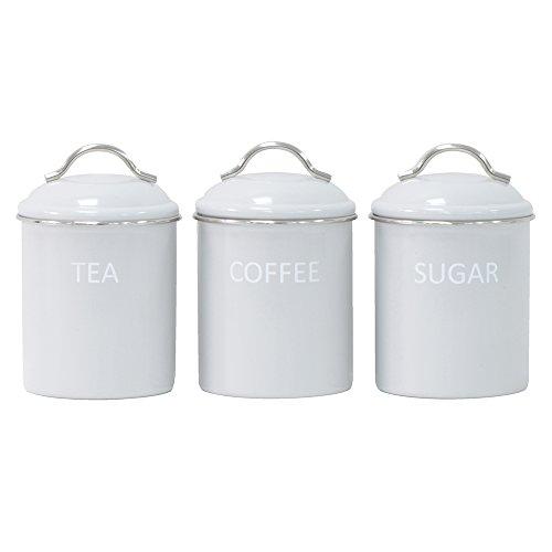 ProCook Tee-, Kaffee- & Zuckerdosen-Set | Retro | Emaille | 3-teilig | grau