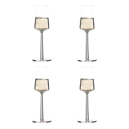 Iittala Essence 4 Champagnergläser, Glas, Transparent, 8.2 x 8.2 x 23 cm