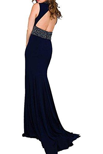 Charmant Damen Langes Abendkleid Schwarz Ballkleider mit Strasse Kleid Festlich lang Chiffon Etuikleider Navy Blau