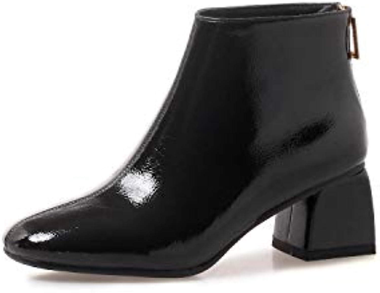 KOKQSX-spesso a a a breve gli stivali di vernice tacco alto 6cm joker tubicino donna ma dingxue. trentaquattro nero | Alla Moda  3b4a25