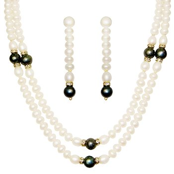 Classique Designer Silver Alloy With Gold Plated Round Pearl Necklace Set For Women(CP151)  available at amazon for Rs.182
