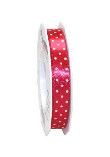 Präsent - Cinta de tela (15 mm de ancho, 20 m), diseño de lunares, color rosa
