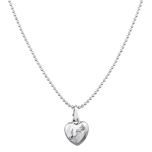 Aadita Silver Plated Love Heart Shaped Pendant with Chain for Women and Girls