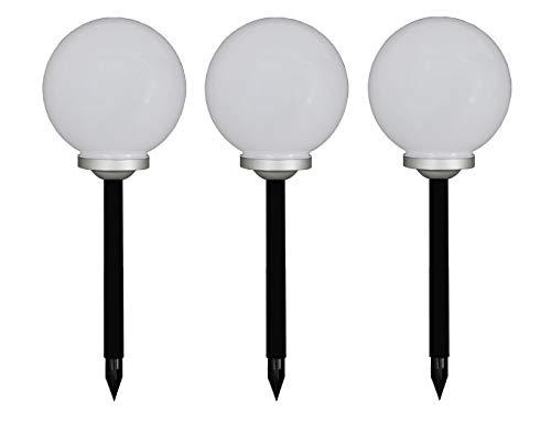 Trango 3er Set LED Solarleuchte 20cm Ø Solarkugel TG-SL20-3 incl. Erdspieß, Solar Außenleuchte, Kugellampe Außen Beleuchtung, Gartenleuchte, Solar Leuchtkugel.