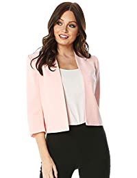 c93f0cacd6d Roman Originals Women Tailored 3 4 Sleeve Jacket - Ladies Round Neck Office  Work Interviews Mother of The Bride Occasion Wedding Guest…