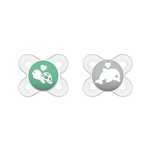 MAM Start Schnuller im Doppelpack, speziell für Früh- und Neugeborene, Silikonschnuller aus speziellem MAM SkinSoft Silikon mit Schnullerbox, 0 - 2 Monate, beige/grau