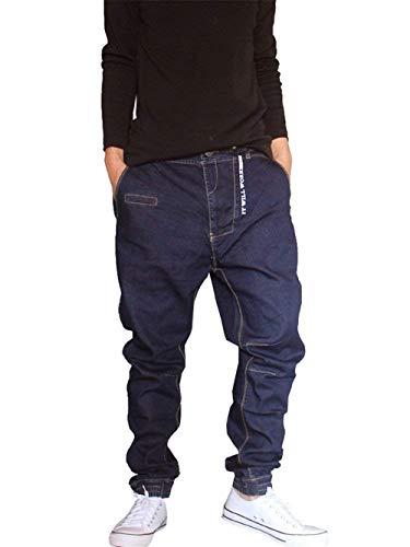 Herren Hip Hop Hipster Style Baggy Jeans Rap Bequeme Größen Denim Haremshose Streetwear Mode Jeanshose Freizeithose Pluderhose Kleidung (Color : Dunkelblau, Size : M)