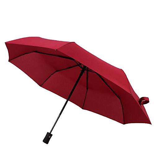 Shuang Yu Zuo Parapluie Automatique, Parapluie De Couleur Unie, Parapluie D'extérieur, Toile D'impact, Parapluie,Red
