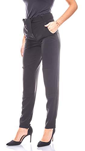 Laura Scott Schlichte Hose Damen Stoffhose mit Aufnähern Trendhose Schwarz, Größenauswahl:36