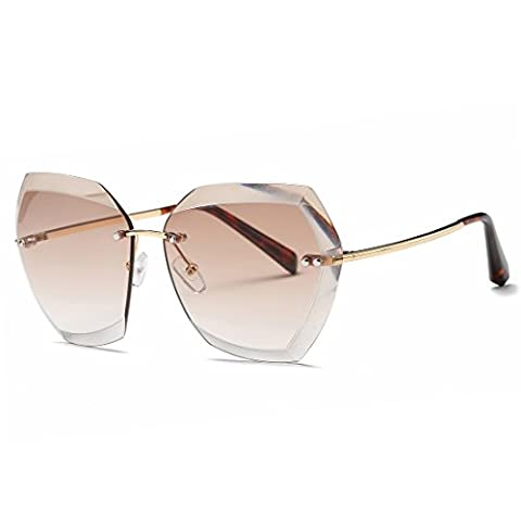 Kimorn Sunglasses For Women Oversized Rimless Diamond Cutting Lens Classic