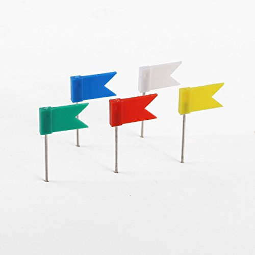 Wall pin - TOOGOO (R) 100 x Studs with flag mark wall pin mixed white blue red yellow green