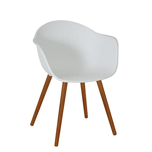 greemotion 129431 Gartenstuhl DERBY aus Kunststoff Stuhl mit Holzbeinen für Garten, Balkon &...