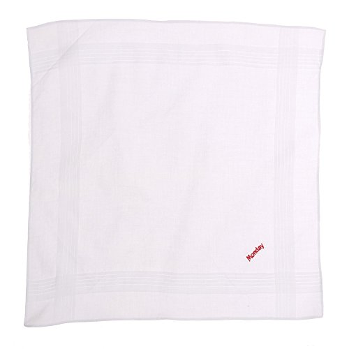 Octave ® blanc 100%  coton pour homme jours de la semaine de 7 mouchoirs pièces-Coffret cadeau Blanc - White With Colourful Days Of The Week Embroidery