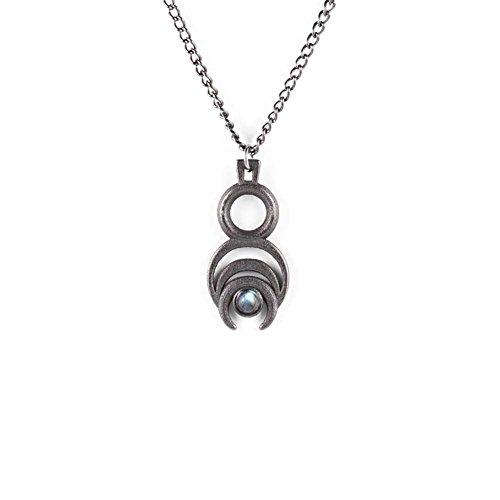 La canaglia e il lupo, la canaglia e il lupo, Chronos-Collana lunga in acciaio (ardesia) stampato 3d gotico gioielli-Gotico Stampa 3d