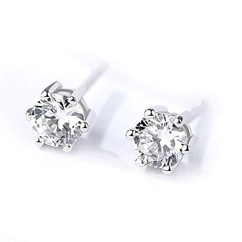 (6 Klaueneinstellung Ohrringe für Frauen Ohrringe Set Sterling Silber Ohrstecker für Damen Mädchen Ohrringe mit weißem Kristall Zirkon (6mm))