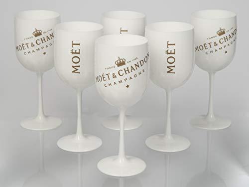 Moët & Chandon Ice Impérial Champagner Becher Kühler Glas Minzschale Set Kombipaket Geschenkpaket Präsent Acryl (6X Becher)