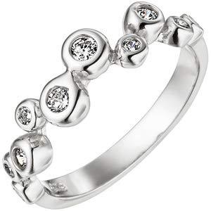 JOBO Damen Ring 925 Sterling Silber 10 Zirkonia Silberring Größe 62