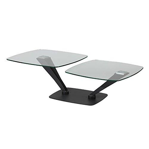 Tousmesmeubles Table Basse Métal/Verre - Stratus - L 119 x l 70 x H 40 - Neuf