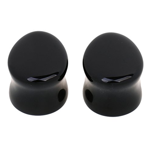 Paire de Expanseurs de l'Oreille en Pierre Piercing Ecarteur Plug Boucle d'Oreille Bijoux de Corps Cool pour Homme Femme (Obsidienne) 10mm