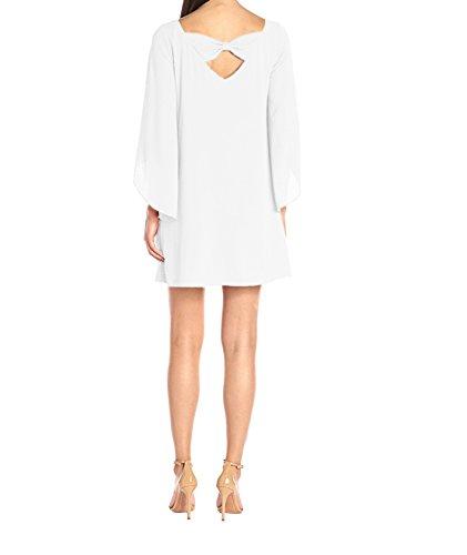 Sommer Strand Ballkleid Mode Schleife Kleid Langarm Blusenkleider Chiffon Kleid Einfarbig Freizeitkleid Loose Petticoat Weiß