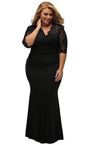 ILFtrend Große Größen Spitze Elegante Halbarm Kleid Partykleider Cocktail Maxikleid Schwarz (XL)