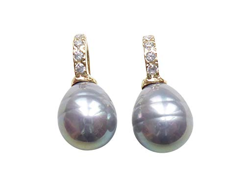 Hell-graue kleine Perlen-Ohrringe Ohr-Hänger Barockglas-Perle Bügel Sterling-Silber vergoldet mit Zirkonia-Steinchen Designer Heide Heinzendorff