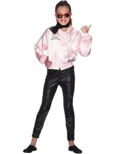Fancy Ole - Mädchen Girl Kinder Grease Pink Ladies Jacke Kostüm, perfekt für Karneval, Fasching und Fastnacht, 122-134, Rosa (Grease Pink Ladies-kostüm)