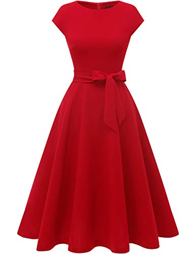 Dresstells Midi Cocktail Sommerkleider 1950er Vintage Cap Sleeve Rockabilly Freizeitkleid Red L