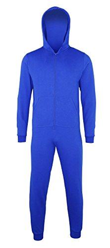 Sofasurfer® Kinder Overall Sweatoverall Jumpsuit Hausanzug mit und ohne Druck , Größe:5/6, Farbe:Royalblue