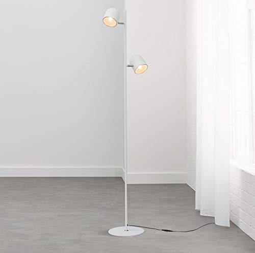 Lampada da terra lampada da terra, lampada da terra a fagiolo magico, doppio portalampada, interruttore indipendente, studio camera da letto con divano (colore : bianca)
